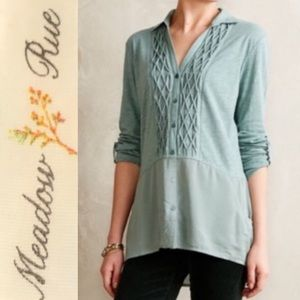 Meadow Rue Anthro | Reha Henley Tunic Sage Green